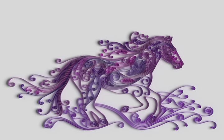 скачущая квиллинг лошадь в пурпурных тонах
